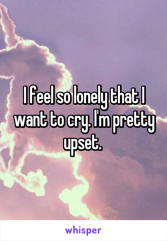 I feel so lonely that I want to cry. I'm pretty upset.