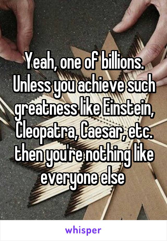 Yeah, one of billions. Unless you achieve such greatness like Einstein, Cleopatra, Caesar, etc. then you're nothing like everyone else