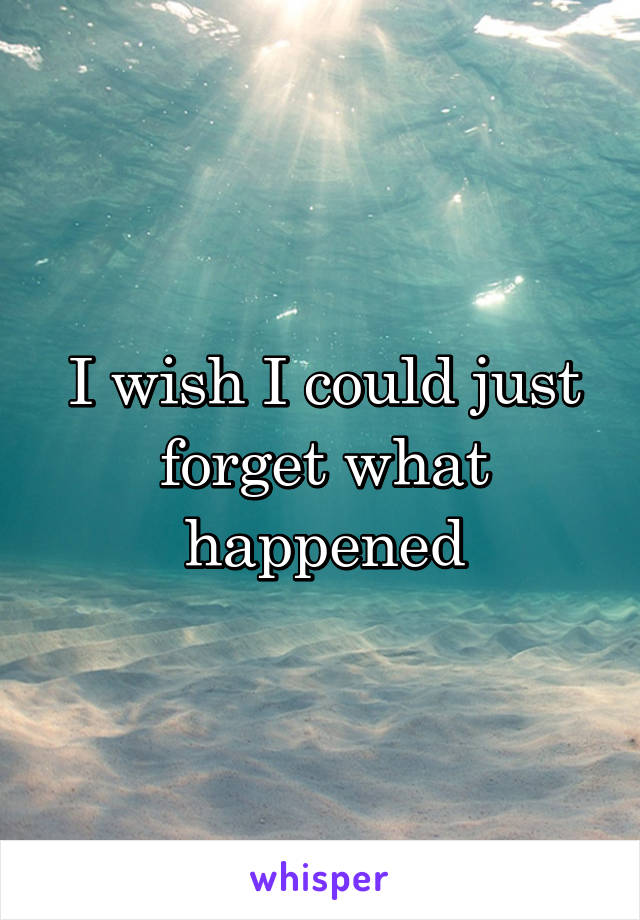 I wish I could just forget what happened