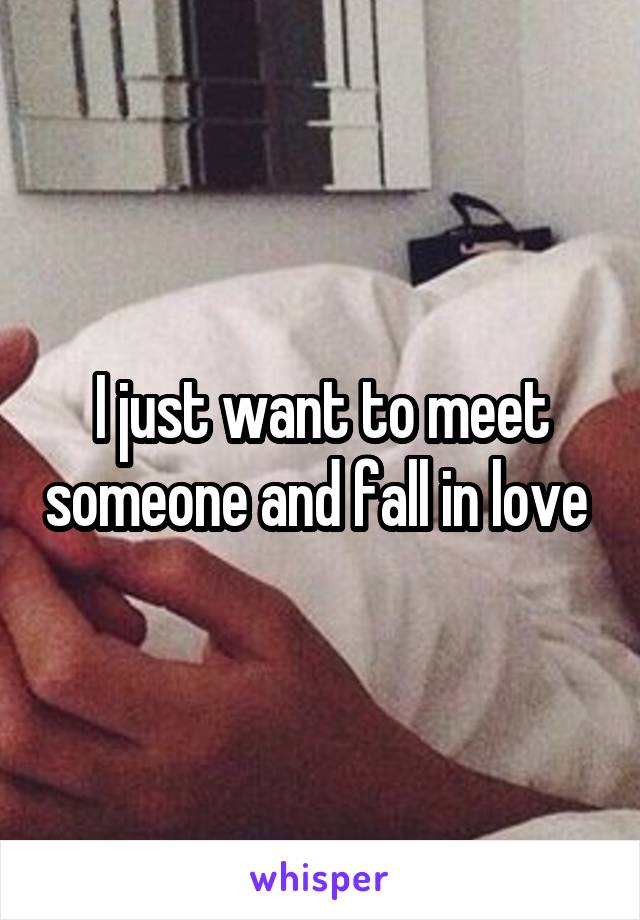 I just want to meet someone and fall in love
