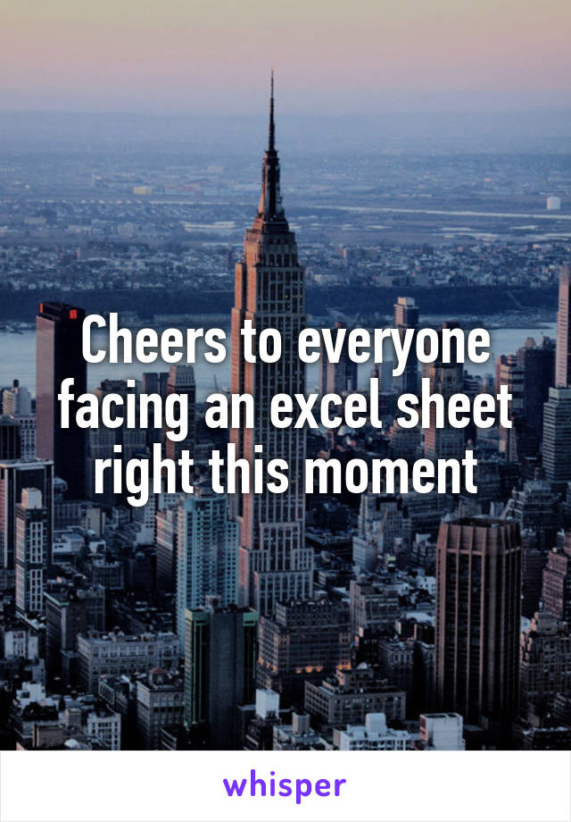Cheers to everyone facing an excel sheet right this moment