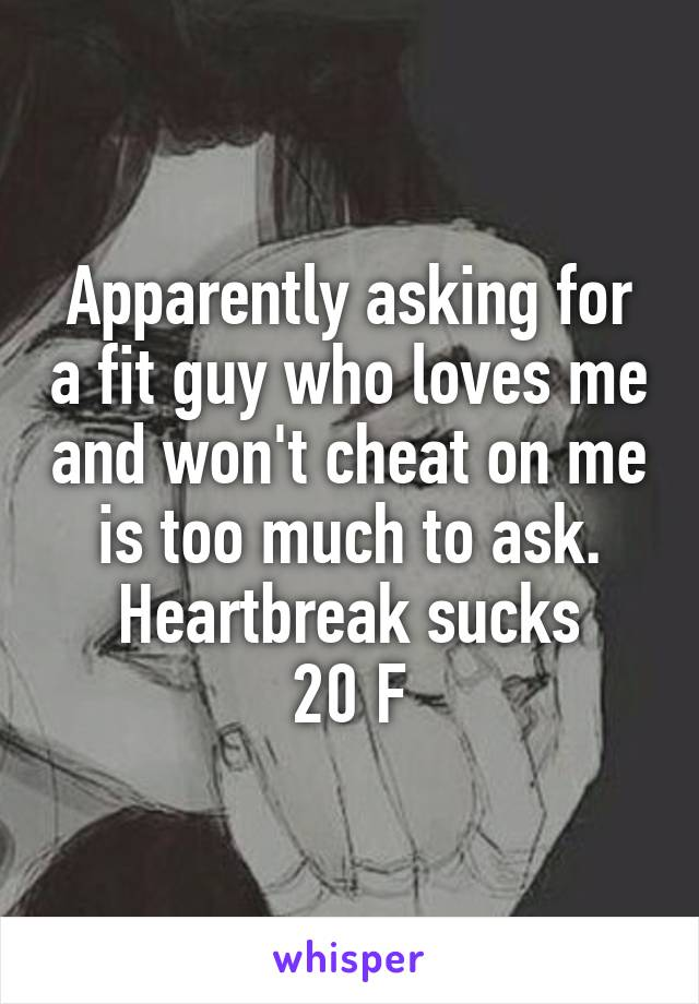 Apparently asking for a fit guy who loves me and won't cheat on me is too much to ask. Heartbreak sucks 20 F