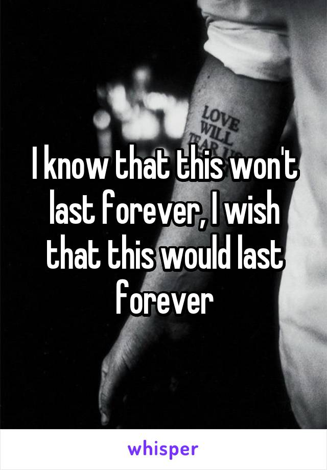 I know that this won't last forever, I wish that this would last forever