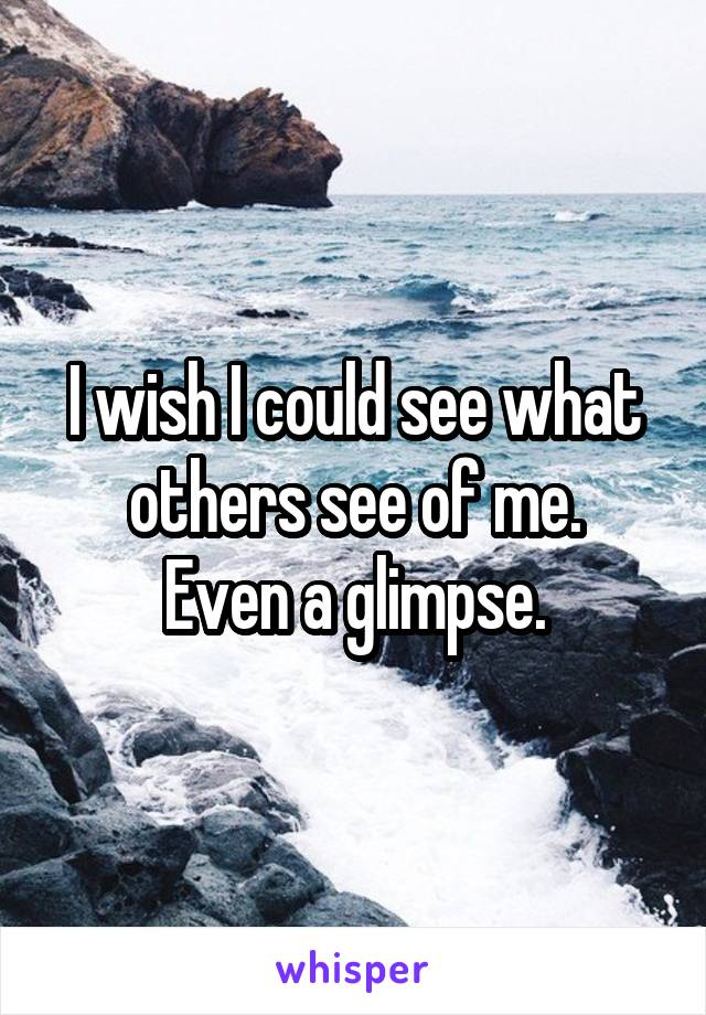 I wish I could see what others see of me. Even a glimpse.