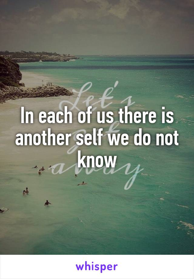 In each of us there is another self we do not know