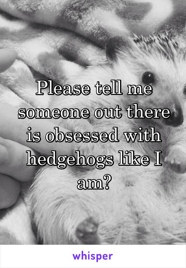 Please tell me someone out there is obsessed with hedgehogs like I am?
