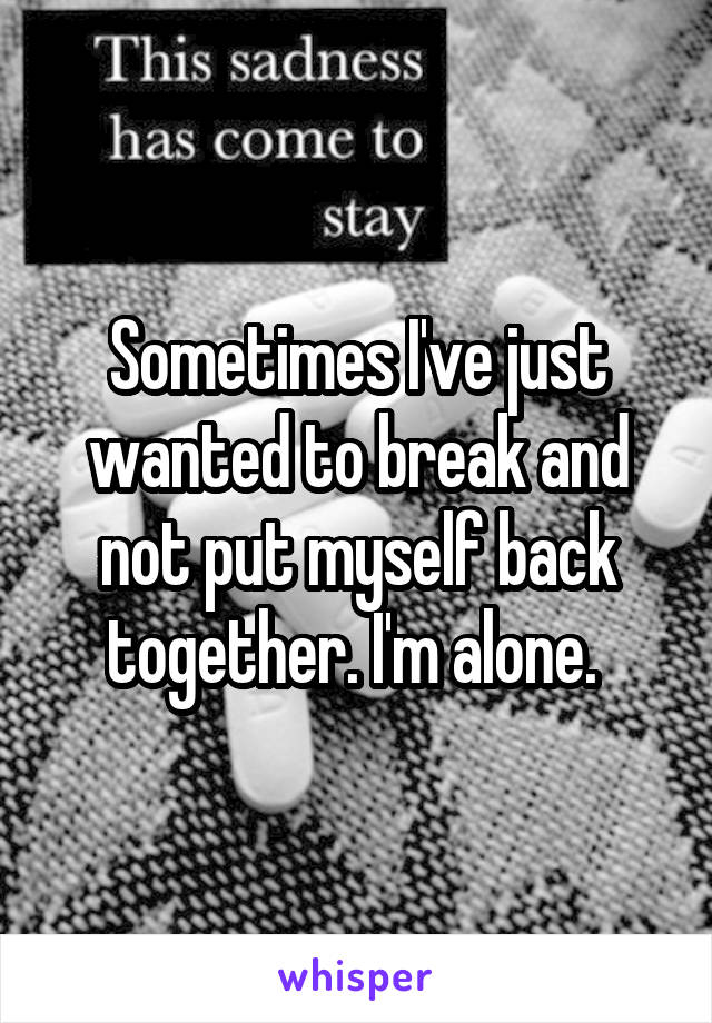 Sometimes I've just wanted to break and not put myself back together. I'm alone.