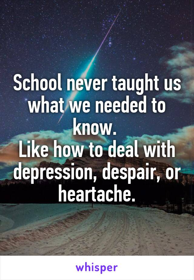 School never taught us what we needed to know.  Like how to deal with depression, despair, or heartache.