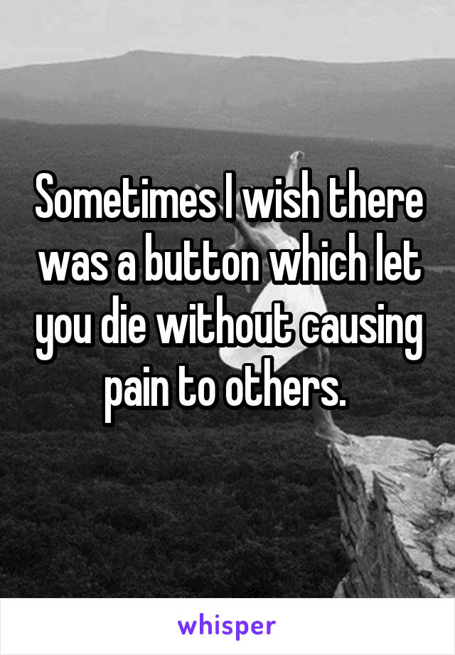 Sometimes I wish there was a button which let you die without causing pain to others.
