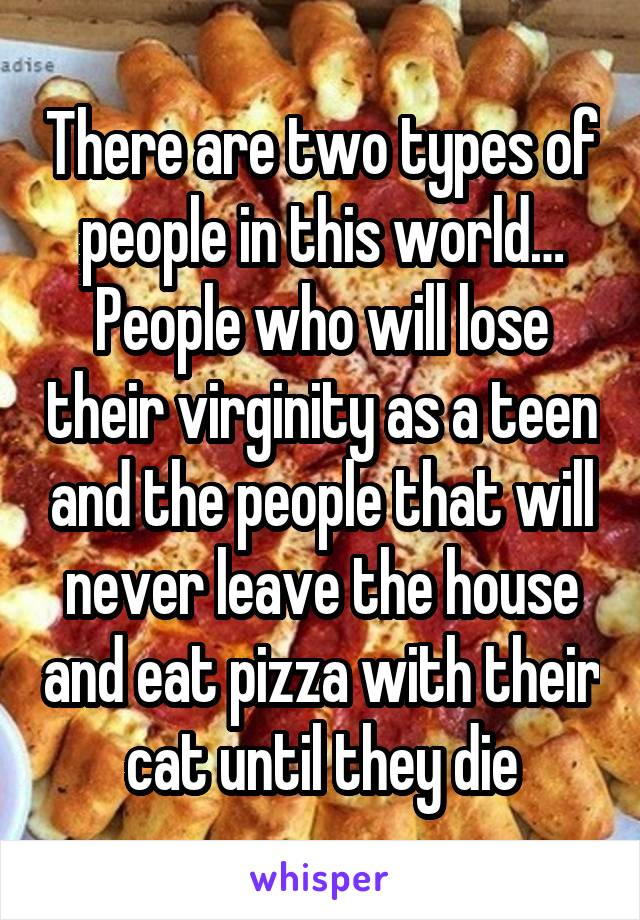 There are two types of people in this world… People who will lose their virginity as a teen and the people that will never leave the house and eat pizza with their cat until they die