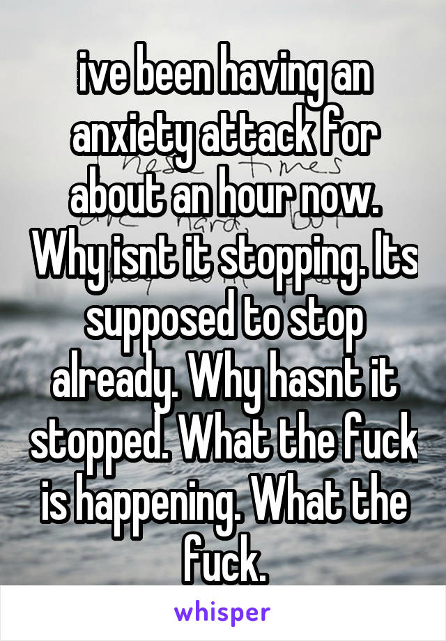 ive been having an anxiety attack for about an hour now. Why isnt it stopping. Its supposed to stop already. Why hasnt it stopped. What the fuck is happening. What the fuck.