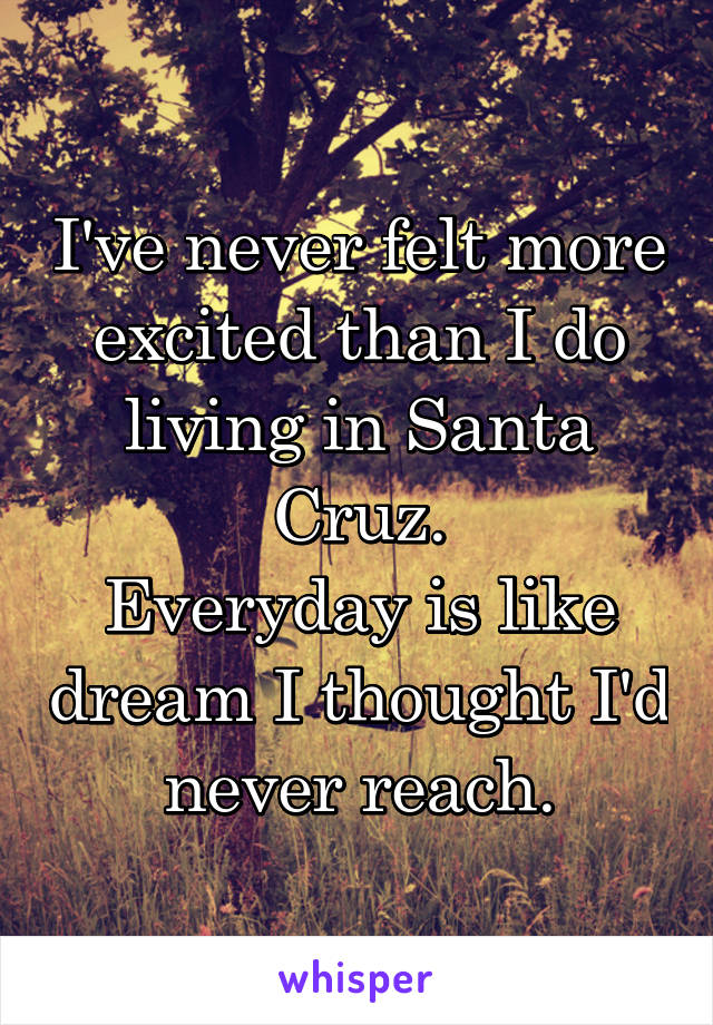I've never felt more excited than I do living in Santa Cruz. Everyday is like dream I thought I'd never reach.