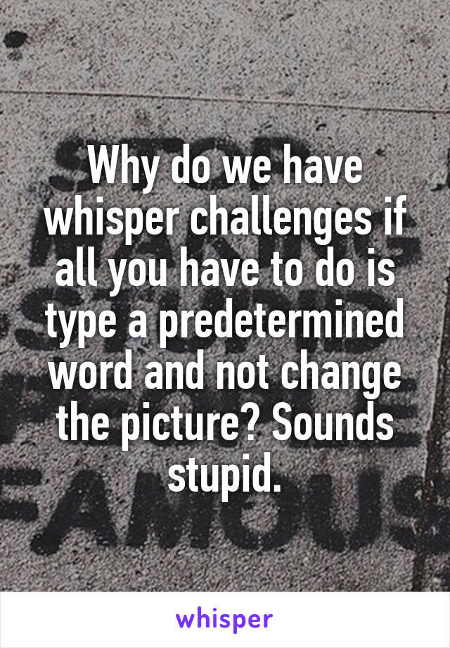 Why do we have whisper challenges if all you have to do is type a predetermined word and not change the picture? Sounds stupid.