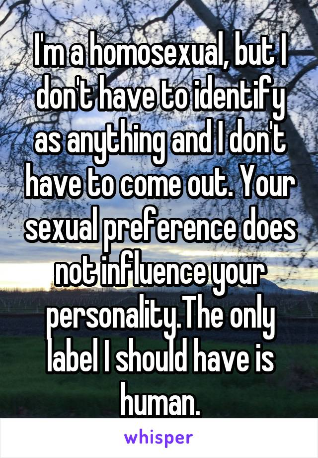 I'm a homosexual, but I don't have to identify as anything and I don't have to come out. Your sexual preference does not influence your personality.The only label I should have is human.