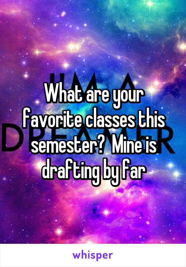 What are your favorite classes this semester?  Mine is drafting by far