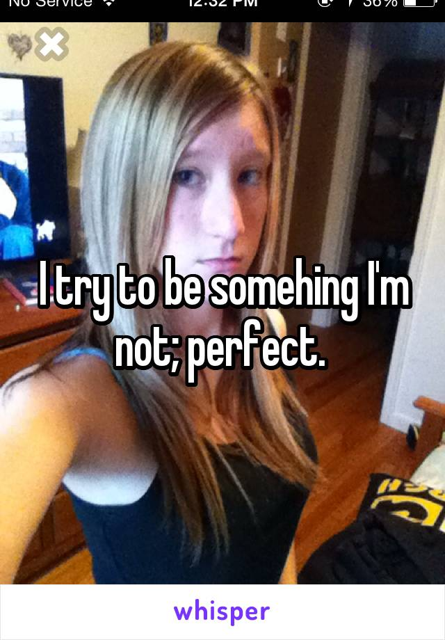 I try to be somehing I'm not; perfect.