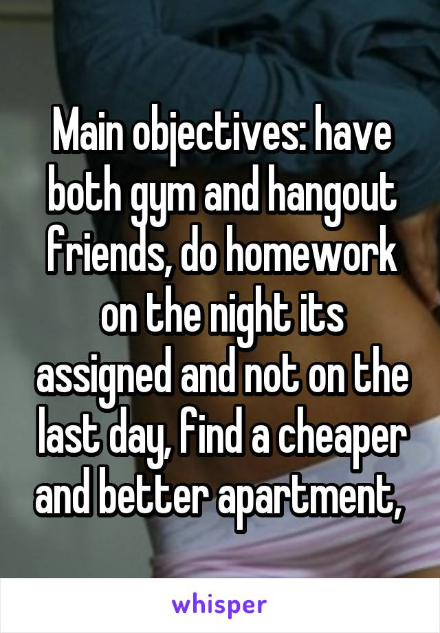 Main objectives: have both gym and hangout friends, do homework on the night its assigned and not on the last day, find a cheaper and better apartment,