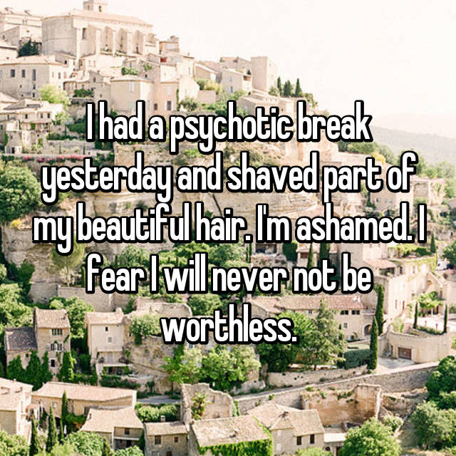 I had a psychotic break yesterday and shaved part of my beautiful hair. I'm ashamed. I fear I will never not be worthless.