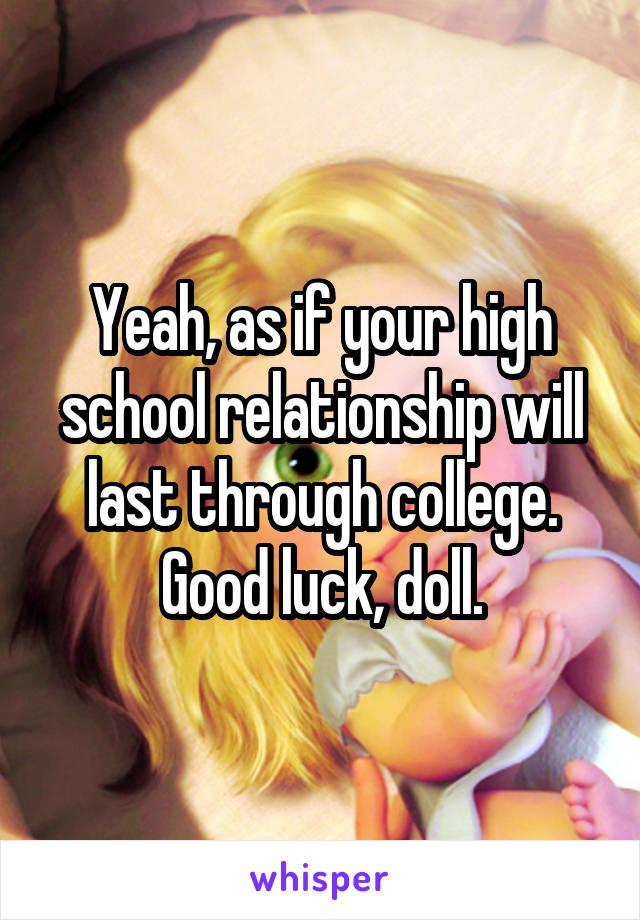 high school relationships in college