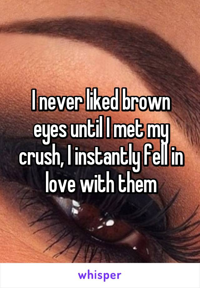 I never liked brown eyes until I met my crush, I instantly fell in love with them