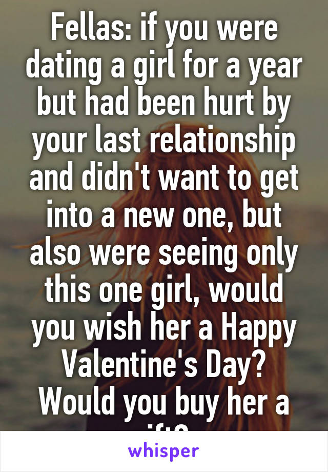 Fellas: if you were dating a girl for a year but had been hurt by your last relationship and didn't want to get into a new one, but also were seeing only this one girl, would you wish her a Happy Valentine's Day? Would you buy her a gift?