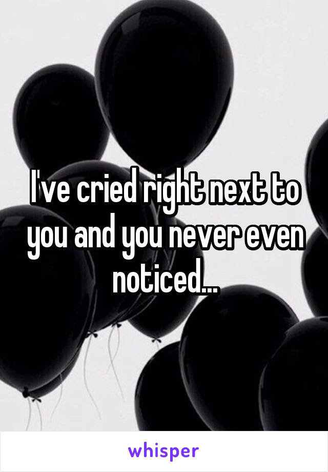 I've cried right next to you and you never even noticed...