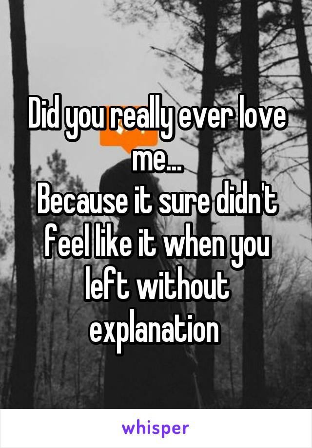 Did you really ever love me... Because it sure didn't feel like it when you left without explanation