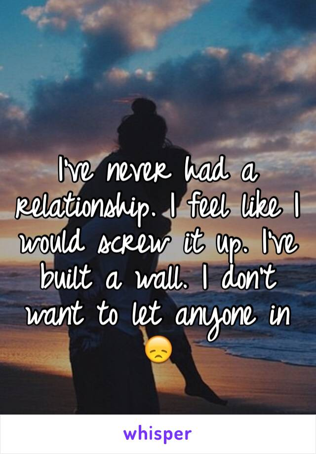 I've never had a relationship. I feel like I would screw it up. I've built a wall. I don't want to let anyone in 😞
