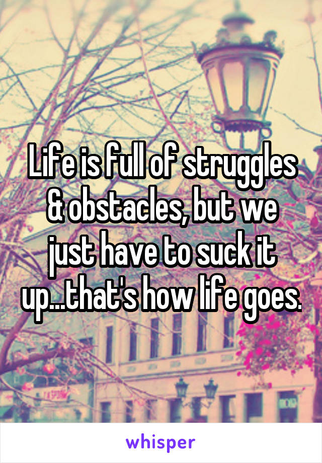 Life is full of struggles & obstacles, but we just have to suck it up...that's how life goes.