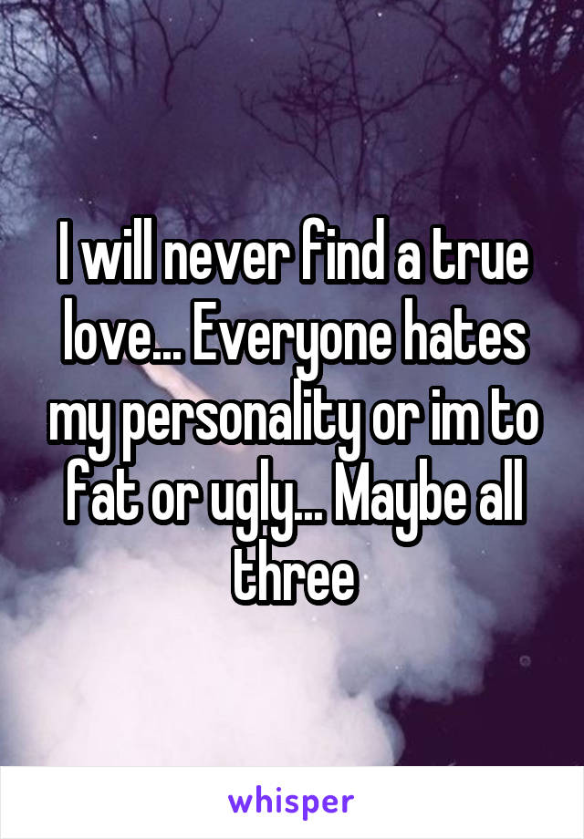 I will never find a true love... Everyone hates my personality or im to fat or ugly... Maybe all three