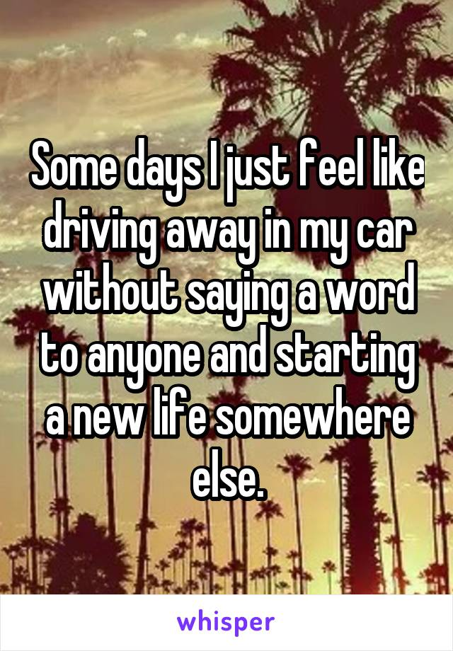 Some days I just feel like driving away in my car without saying a word to anyone and starting a new life somewhere else.