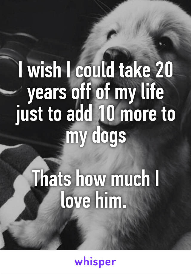 I wish I could take 20 years off of my life just to add 10 more to my dogs  Thats how much I love him.