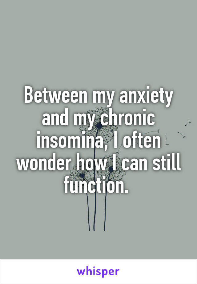 Between my anxiety and my chronic insomina, I often wonder how I can still function.