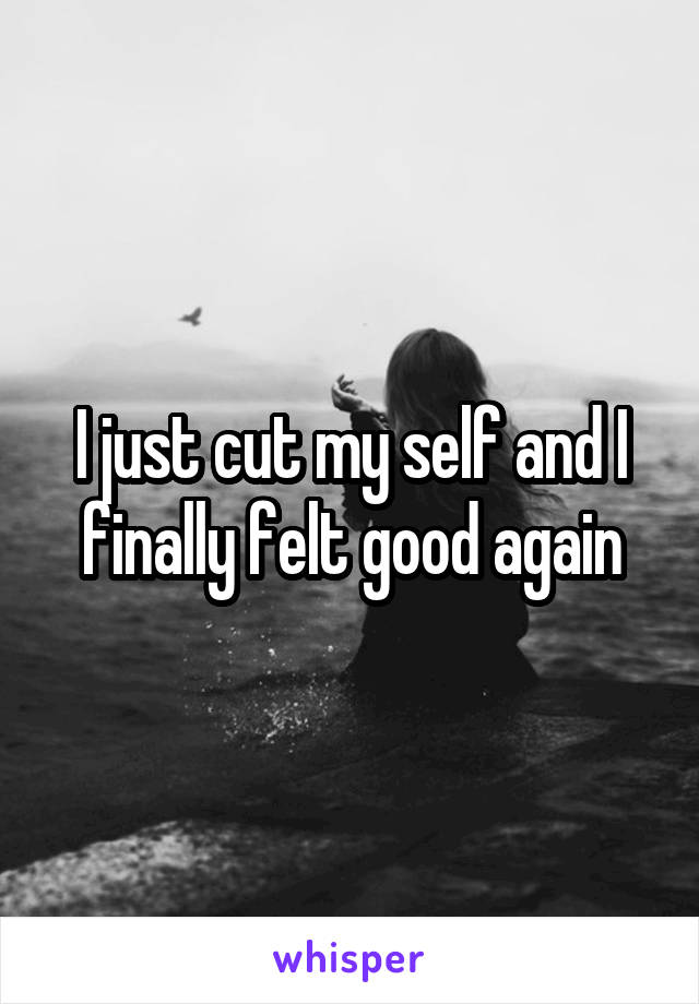 I just cut my self and I finally felt good again