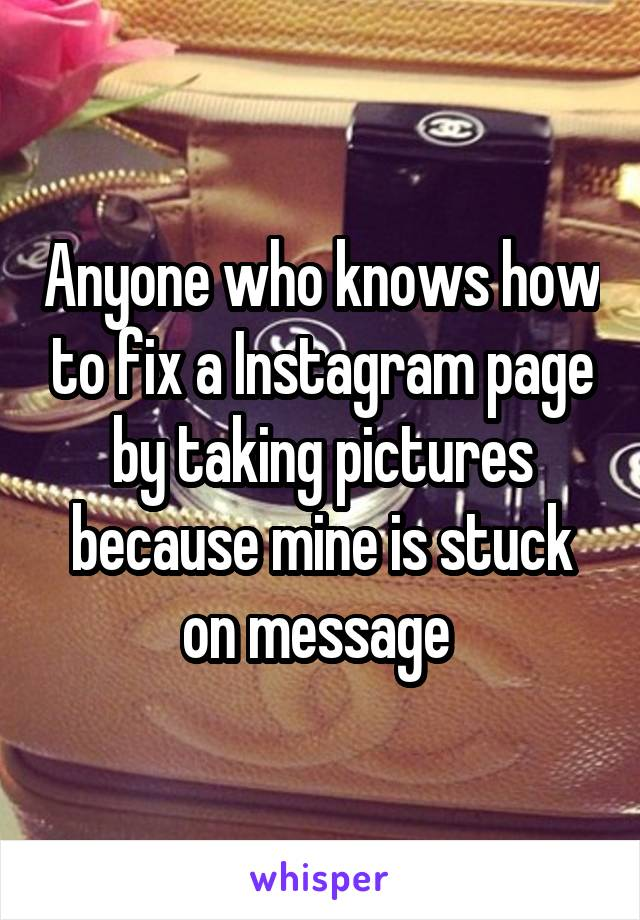 Anyone who knows how to fix a Instagram page by taking pictures because mine is stuck on message