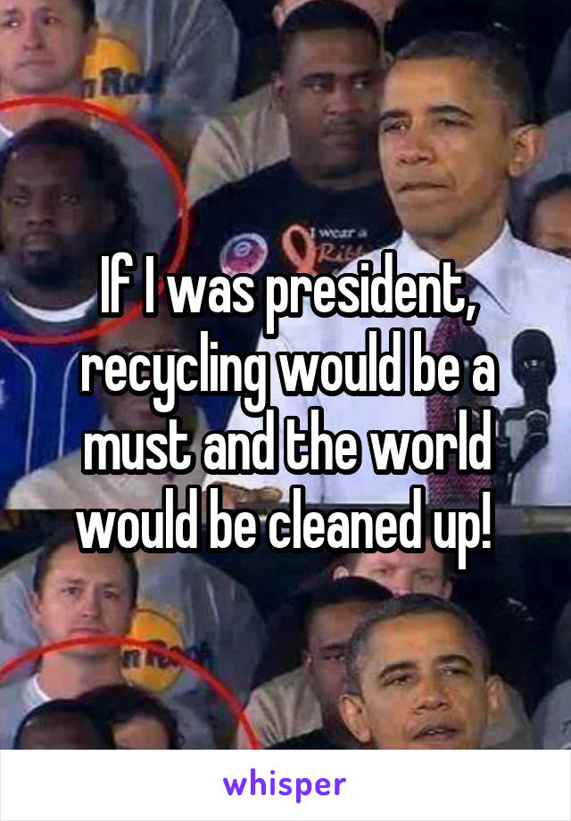 If I was president, recycling would be a must and the world would be cleaned up!