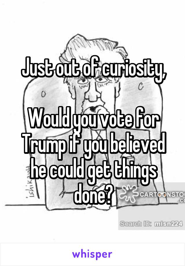 Just out of curiosity,  Would you vote for Trump if you believed he could get things done?