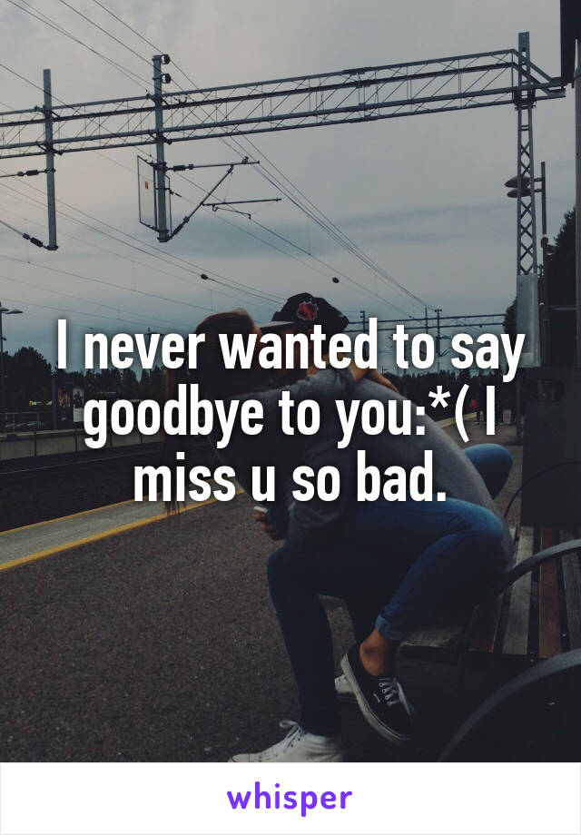 I never wanted to say goodbye to you:*( I miss u so bad.