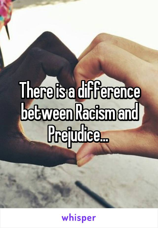 There is a difference between Racism and Prejudice...