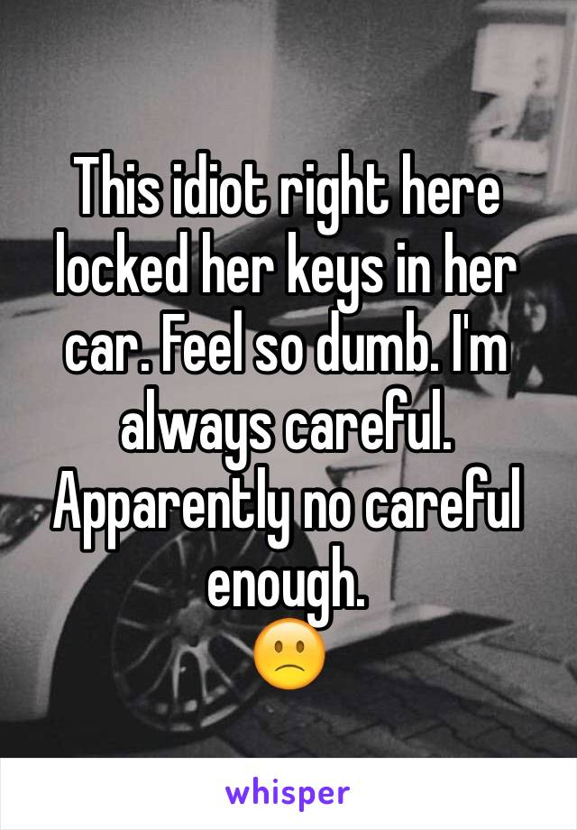 This idiot right here locked her keys in her car. Feel so dumb. I'm always careful. Apparently no careful enough.  🙁