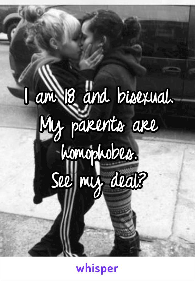 I am 18 and bisexual. My parents are homophobes. See my deal?