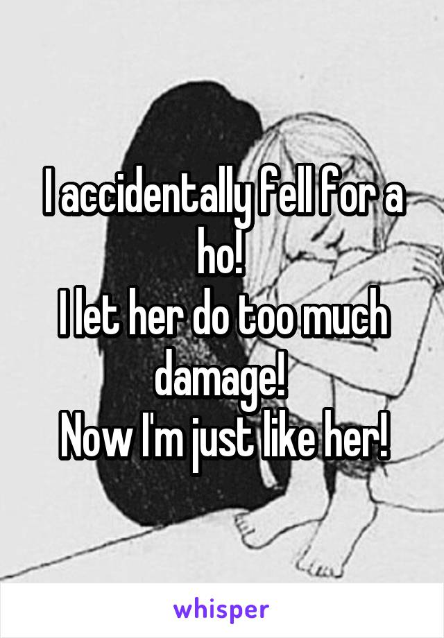 I accidentally fell for a ho!  I let her do too much damage!  Now I'm just like her!