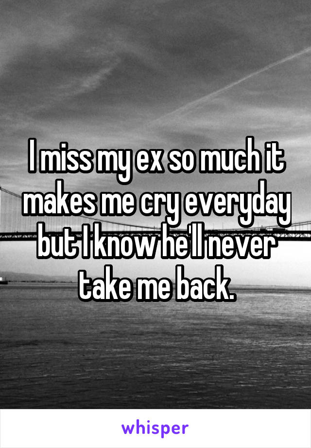 I miss my ex so much it makes me cry everyday but I know he'll never take me back.