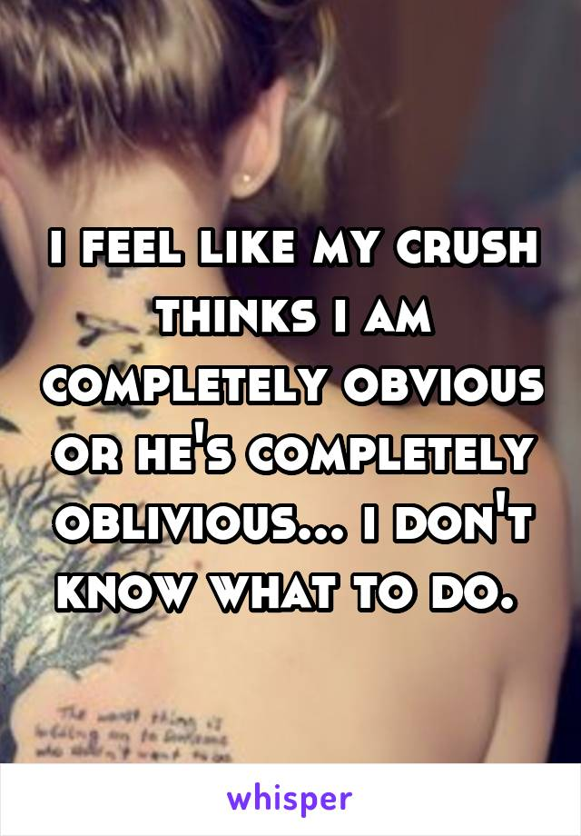 i feel like my crush thinks i am completely obvious or he's completely oblivious... i don't know what to do.