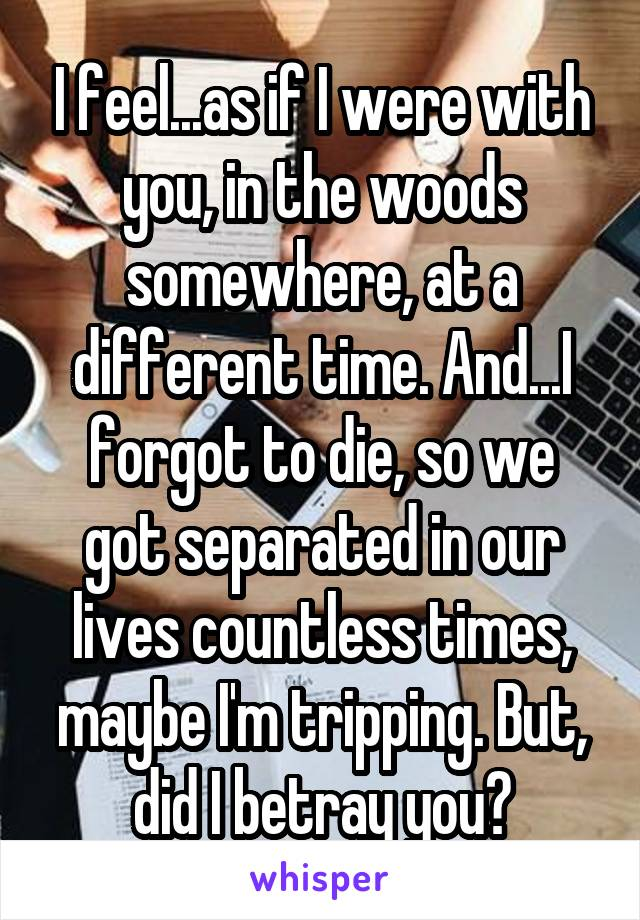 I feel...as if I were with you, in the woods somewhere, at a different time. And...I forgot to die, so we got separated in our lives countless times, maybe I'm tripping. But, did I betray you?