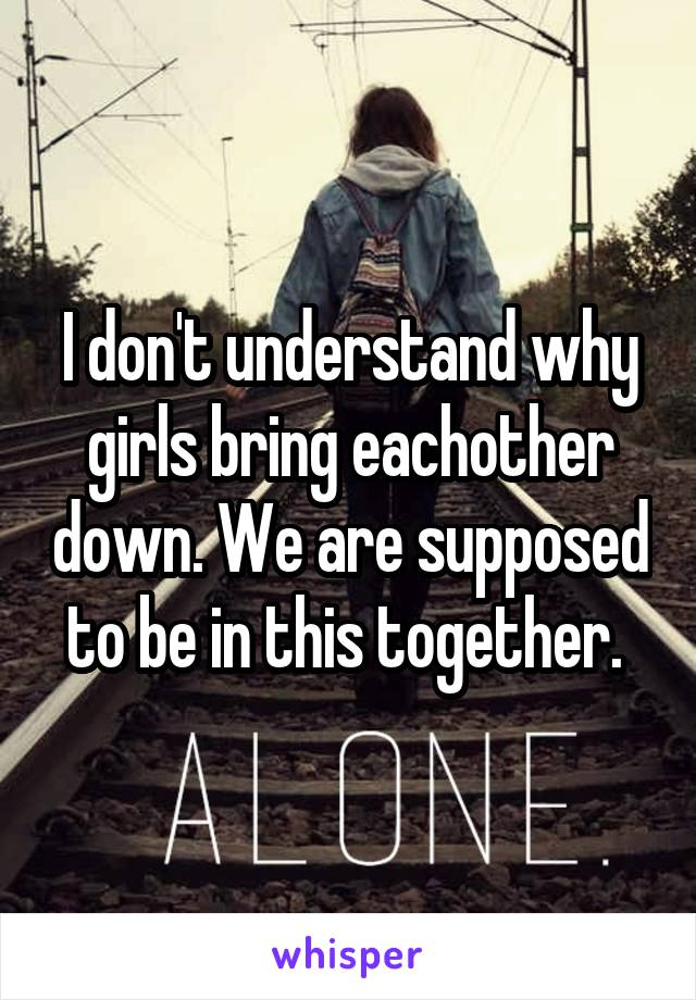 I don't understand why girls bring eachother down. We are supposed to be in this together.