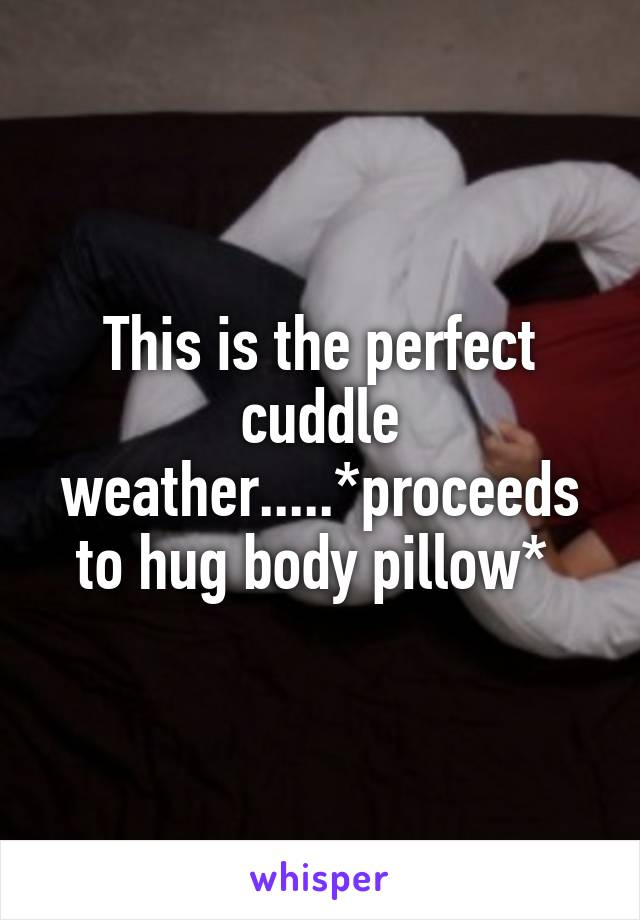 This is the perfect cuddle weather.....*proceeds to hug body pillow*