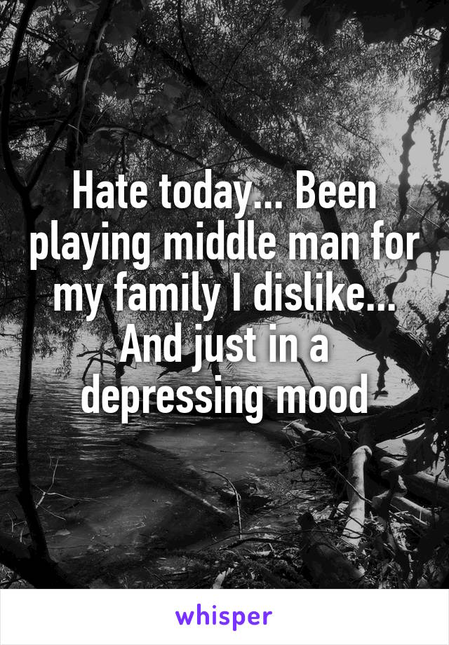 Hate today... Been playing middle man for my family I dislike... And just in a depressing mood