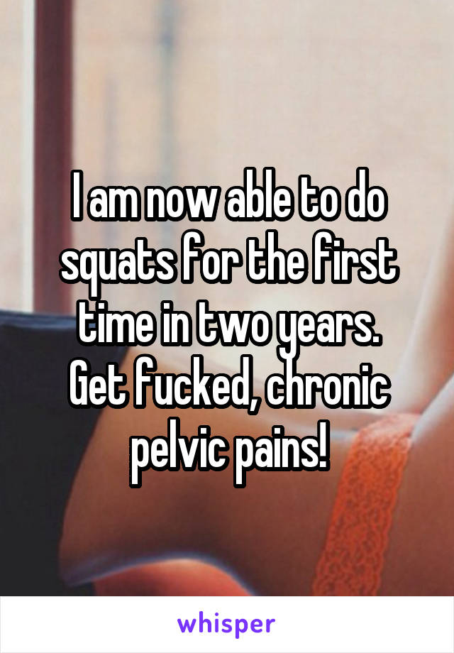 I am now able to do squats for the first time in two years. Get fucked, chronic pelvic pains!