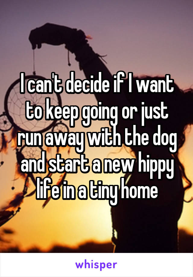 I can't decide if I want to keep going or just run away with the dog and start a new hippy life in a tiny home